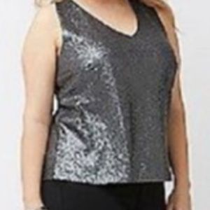Lane Bryant Gray Sequin Tank with Racer Back 22/24